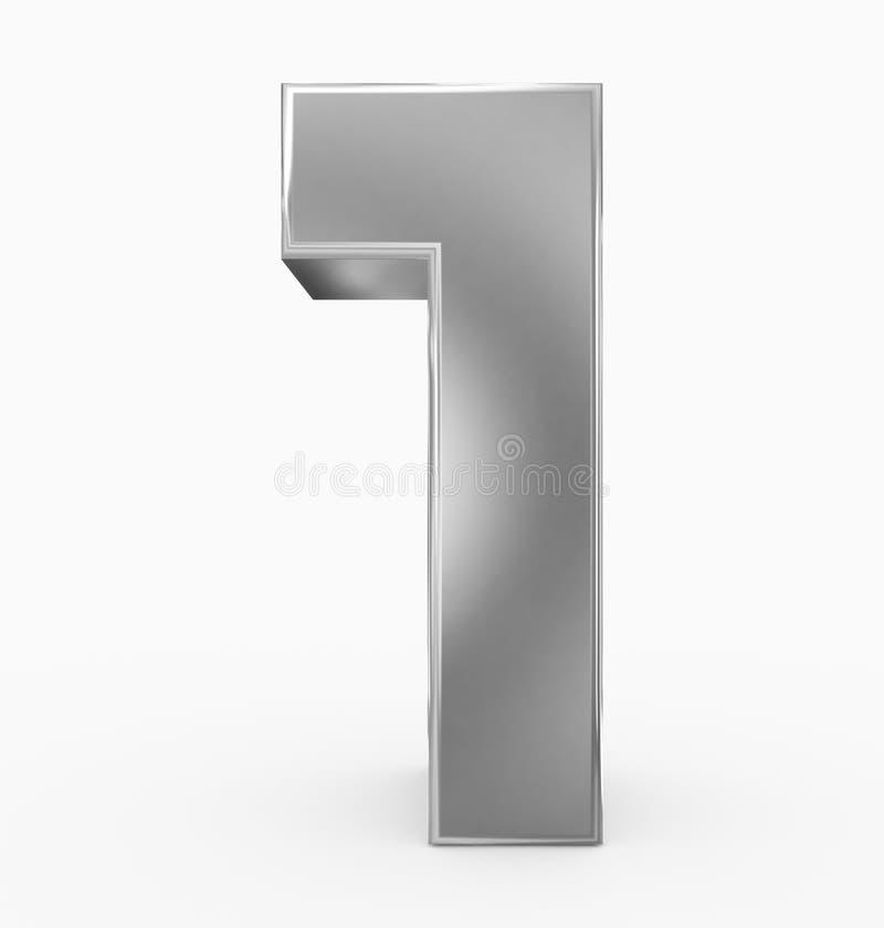 Nummerieren Sie 1 3d das Kubiksilber, das auf Weiß lokalisiert wird stock abbildung