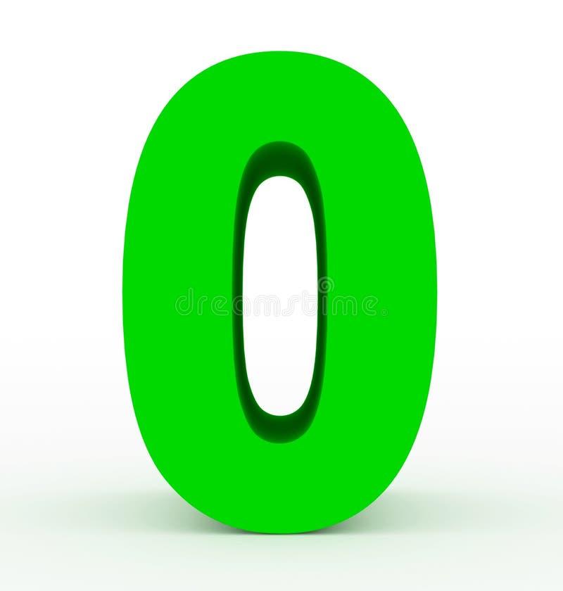 Nummerieren Sie 0 3d das saubere Grün, das auf Weiß lokalisiert wird lizenzfreie abbildung
