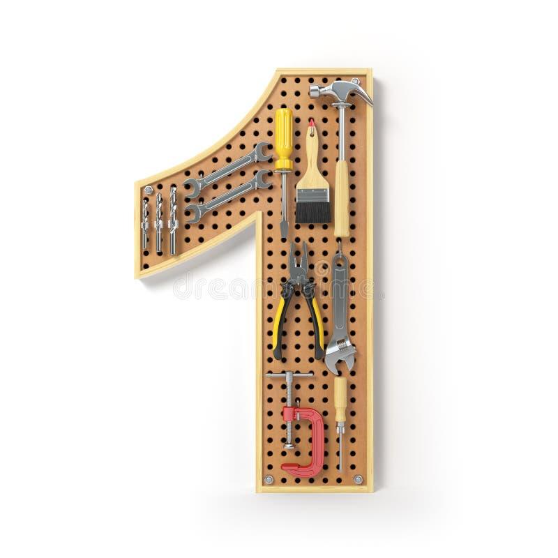 Nummerieren Sie 1 ein Alphabet von den Werkzeugen auf dem Metall-pegboard isola lizenzfreie abbildung