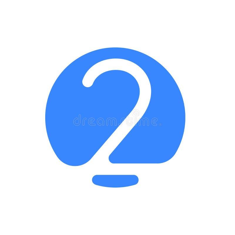 Nummerieren Sie Gusslogo moderne abstrakte blaue Ikone von Nr. 2 zwei für Gusslogo stock abbildung