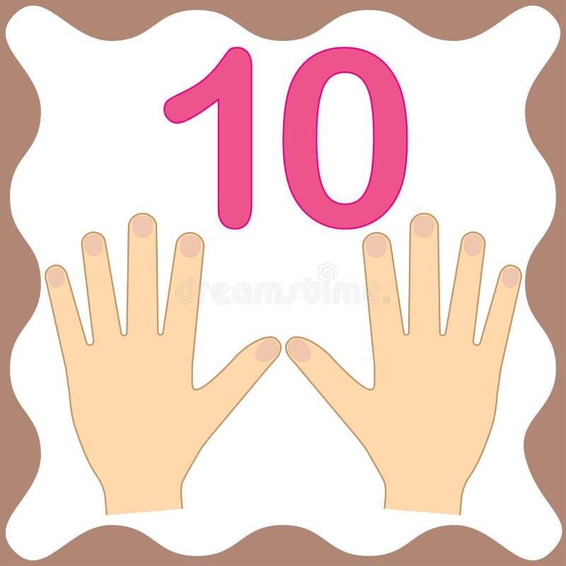 Nummerieren Sie 10 zehn, die pädagogische Karte und die Zählung mit den Fingern lernen stock abbildung