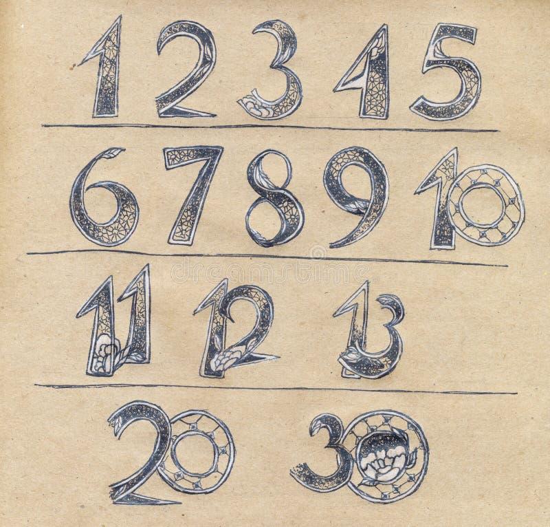 Nummeriert die Charaktere, die mit Blumenverzierung verziert werden stockbild