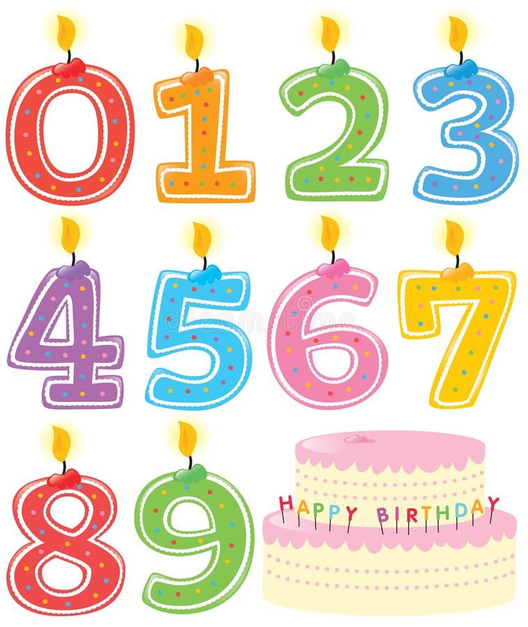 Nummerierte Geburtstag-Kerzen und Kuchen lizenzfreie abbildung