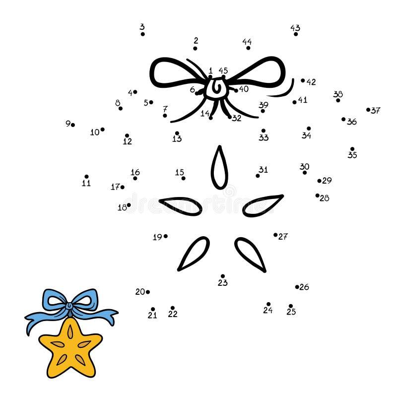Nummerlek för barn: Julstjärna royaltyfri illustrationer