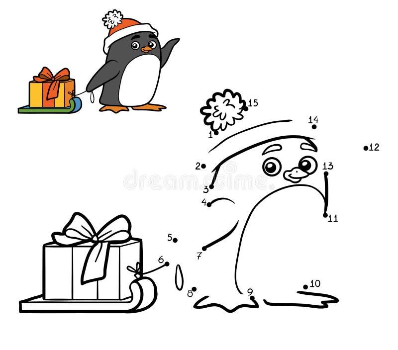 Nummerlek för barn Pingvin- och julgåva stock illustrationer