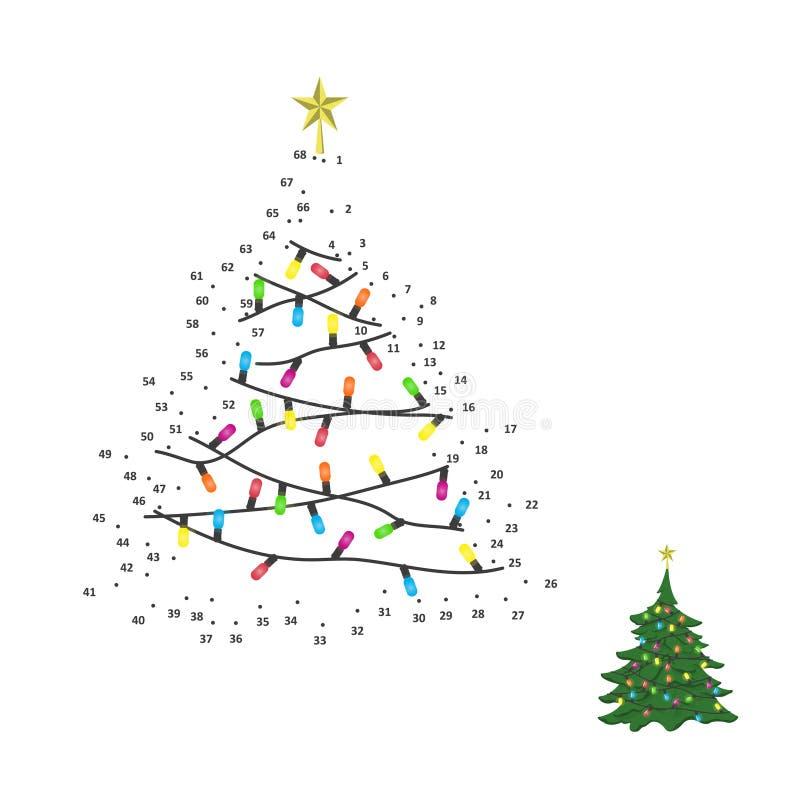 Nummerlek för barn Prick som pricker utbildningsleken Jul royaltyfri illustrationer
