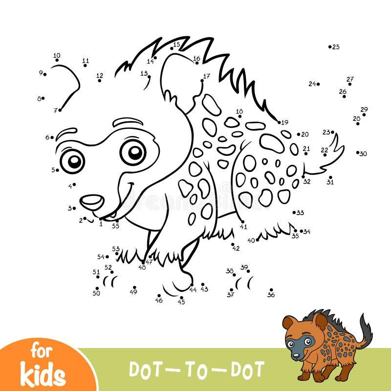 Nummerlek, lek för barn, prickig hyena vektor illustrationer