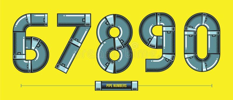 Nummermetallrör utformar i en komikervektor för uppsättning 67890 vektor illustrationer