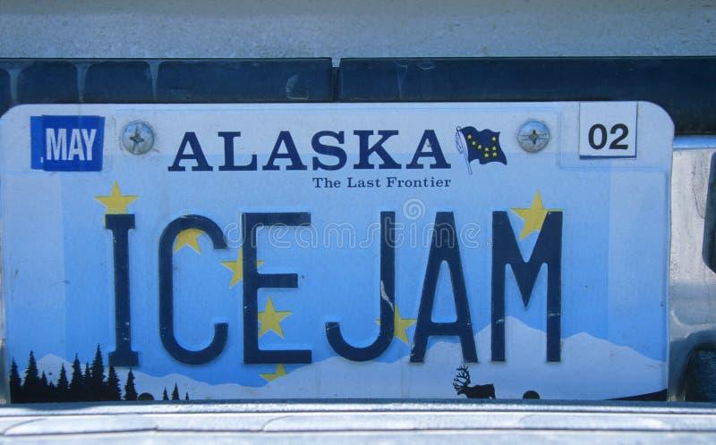 Nummerplaat in Alaska stock afbeeldingen