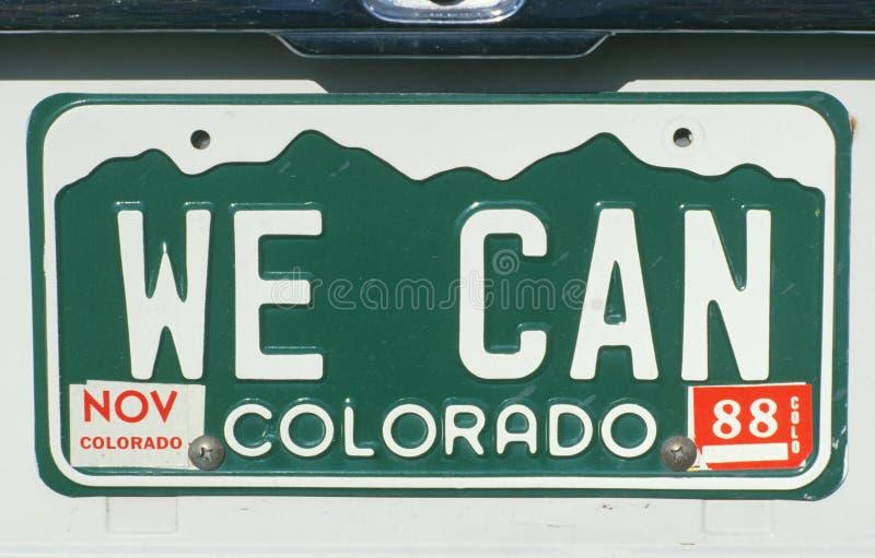 Nummerplaat in Colorado stock afbeelding