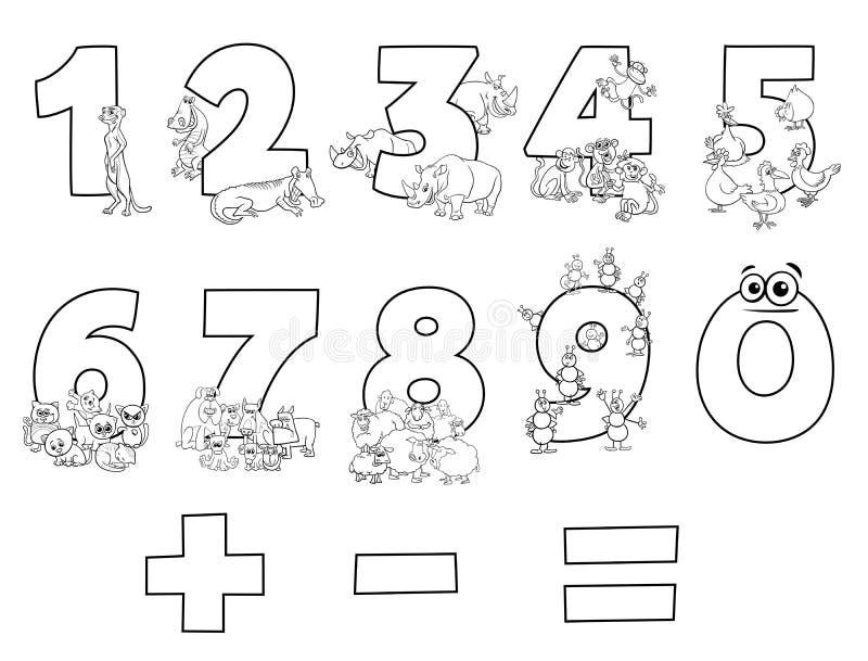 Nummersamling med boken för tecknad filmdjurfärg stock illustrationer