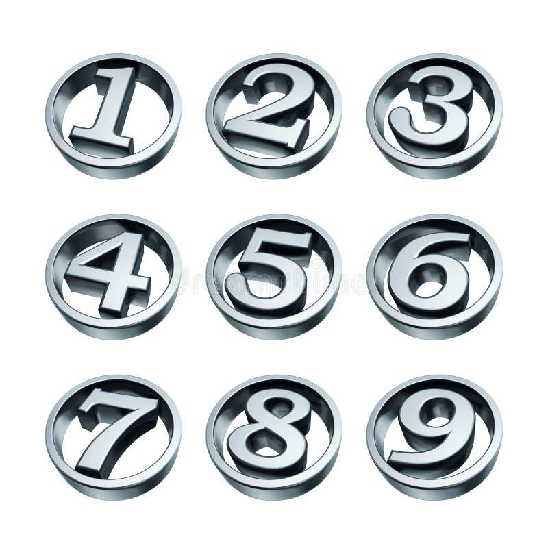 nummertelefonsilver stock illustrationer