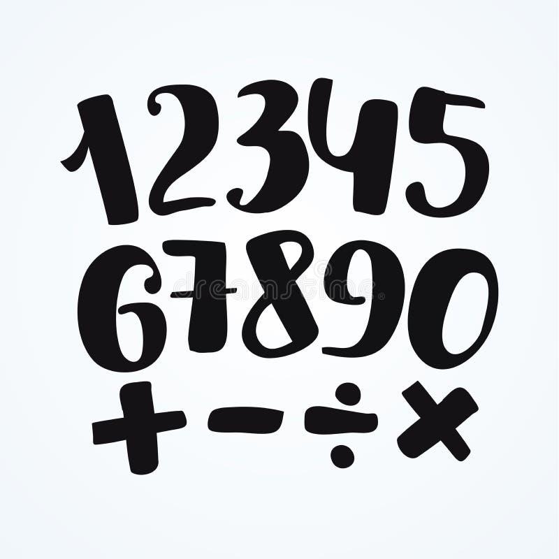 Nummeruppsättning i hand dragen kalligrafistil Beståndsdelar för vektordesignmall royaltyfri illustrationer