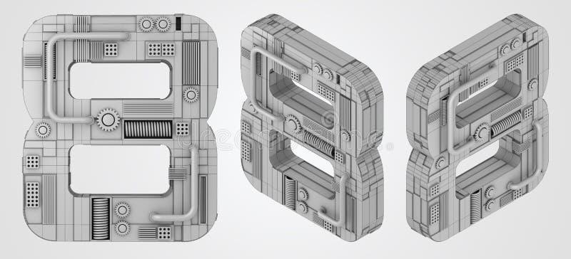 Numrera 8 åtta, stilsort för tolkning 3D med isolerad vit bakgrund vektor illustrationer