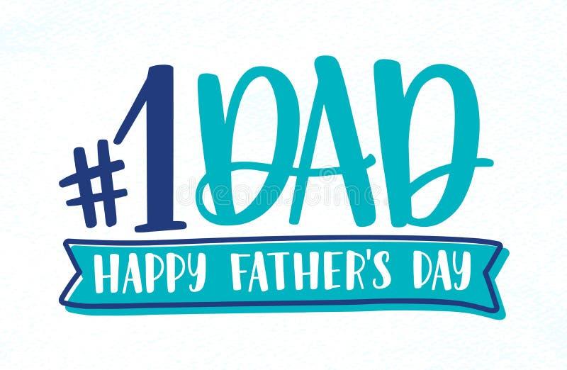 Numrera en farsa, den lyckliga inskriften för ferie för dagen för fader` s, bokstäver eller önska handskrivet med den calligraphi vektor illustrationer
