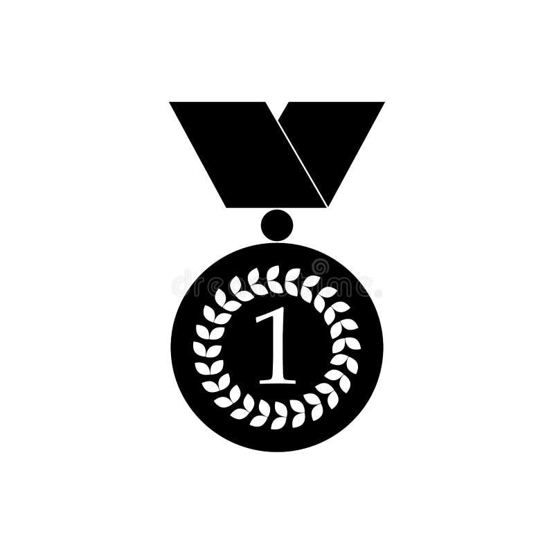 Numrera en guldmedaljsymbol, svart enkel stil stock illustrationer