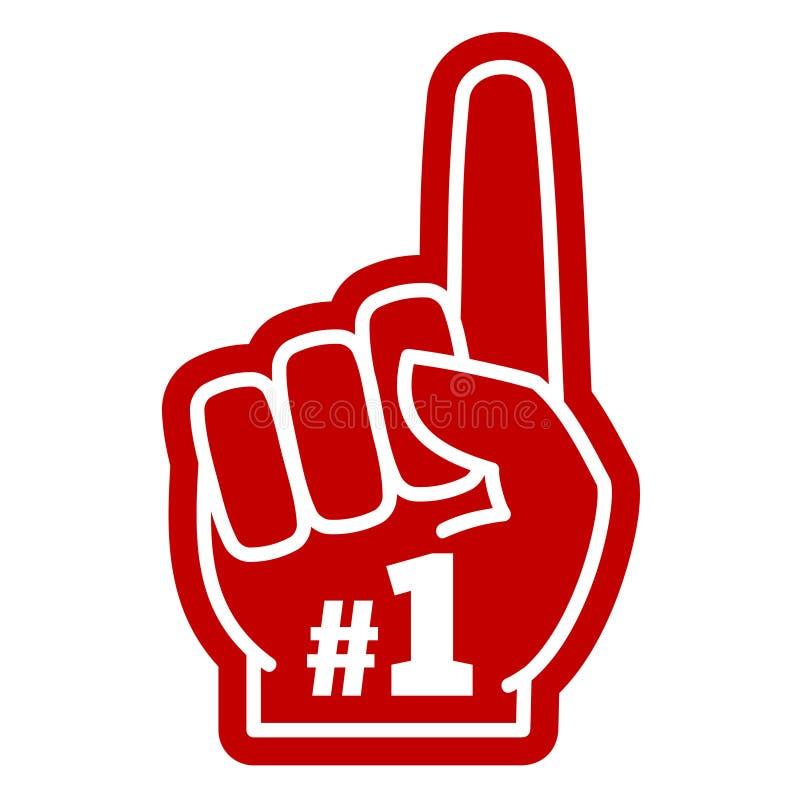 Numrera 1 en hand för skum för sportfan med att lyfta pekfingervektorsymbolen royaltyfri illustrationer