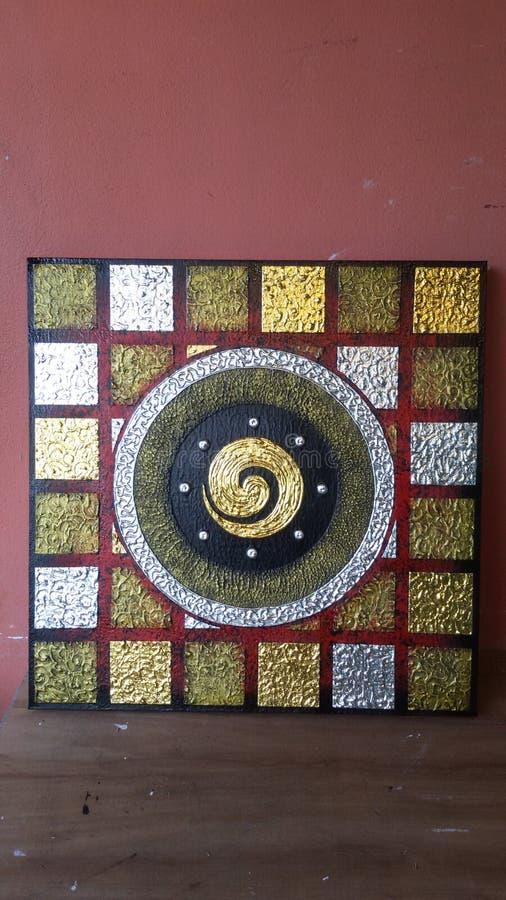 Numrera en i thai med den guld- silverfyrkanten royaltyfri bild