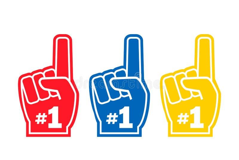Numrera 1 fan, handhandsken, olik färg royaltyfri illustrationer