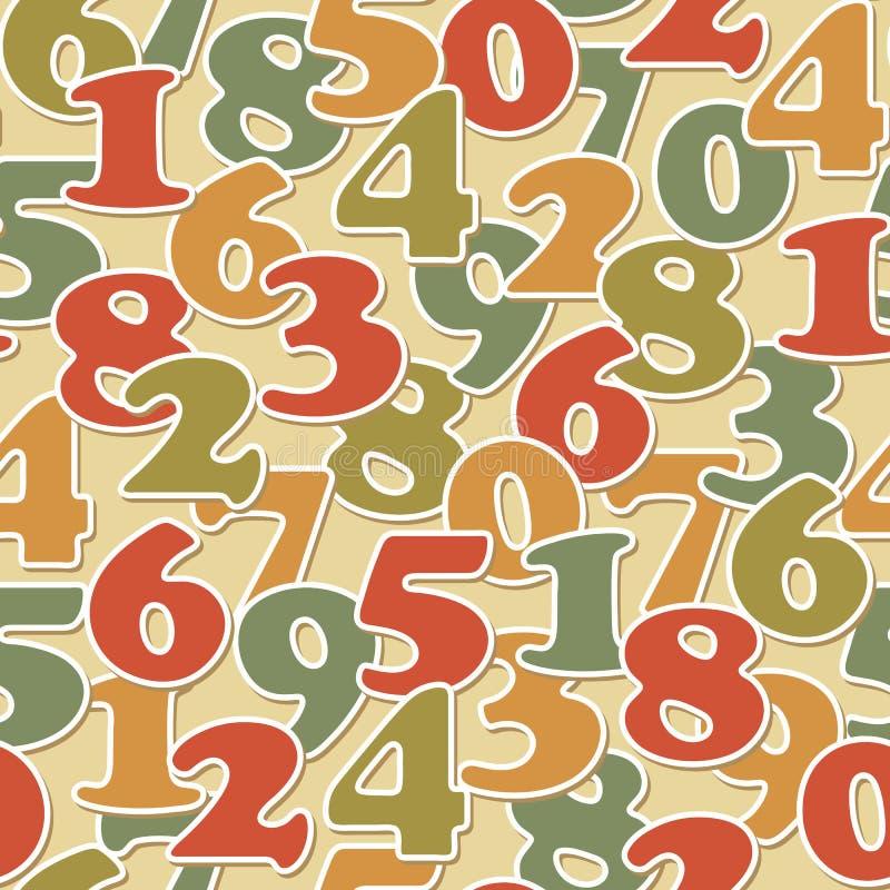 Numrera seamless mönstrar royaltyfri illustrationer