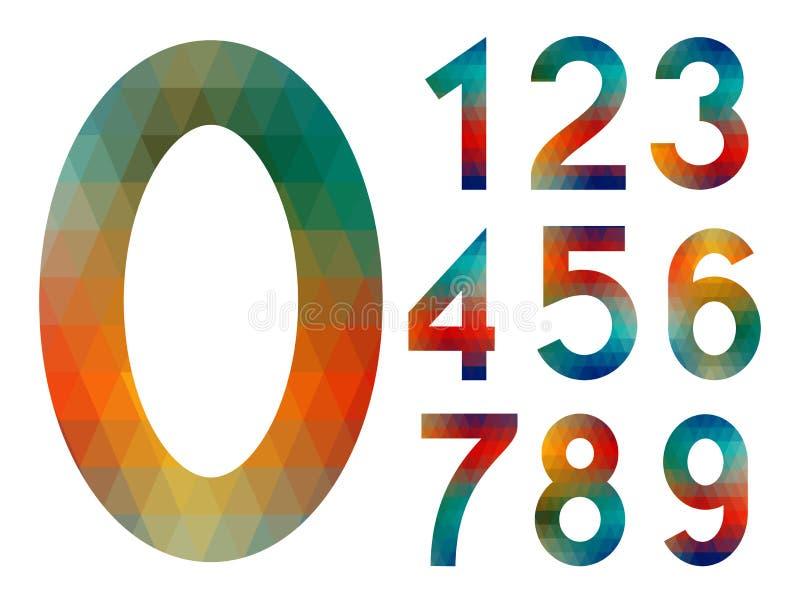 Mosaiken numrerar uppsättningen vektor illustrationer
