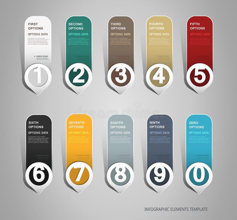 Numrerade baner kan användas för workfloworientering, diagram, nummeralternativ, infographics royaltyfri illustrationer