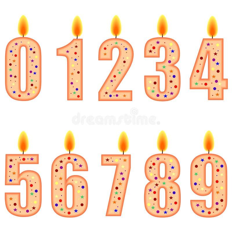 numrerade födelsedagstearinljus royaltyfri illustrationer