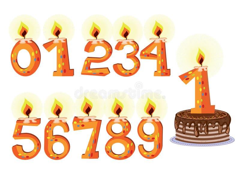 numrerade födelsedagstearinljus stock illustrationer