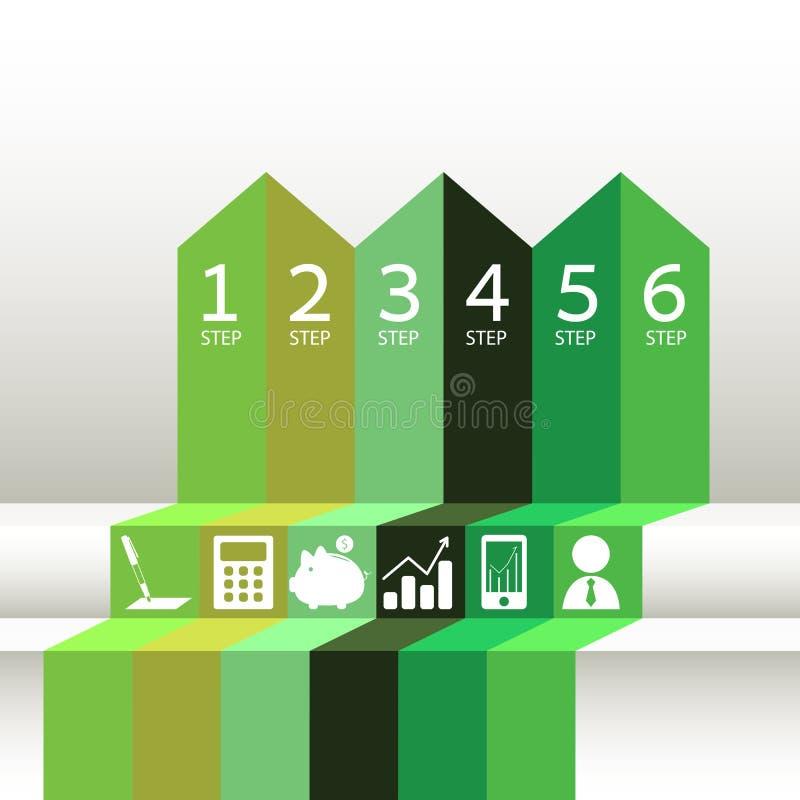 Numrerade gröna band stock illustrationer