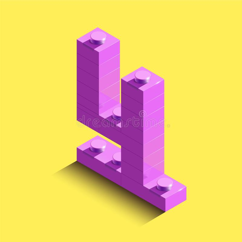 numrerar isometriska rosa färger 3d fyra från legotegelsten på gul bakgrund nummer 3d från legotegelstenar Realistiskt nummer vektor illustrationer