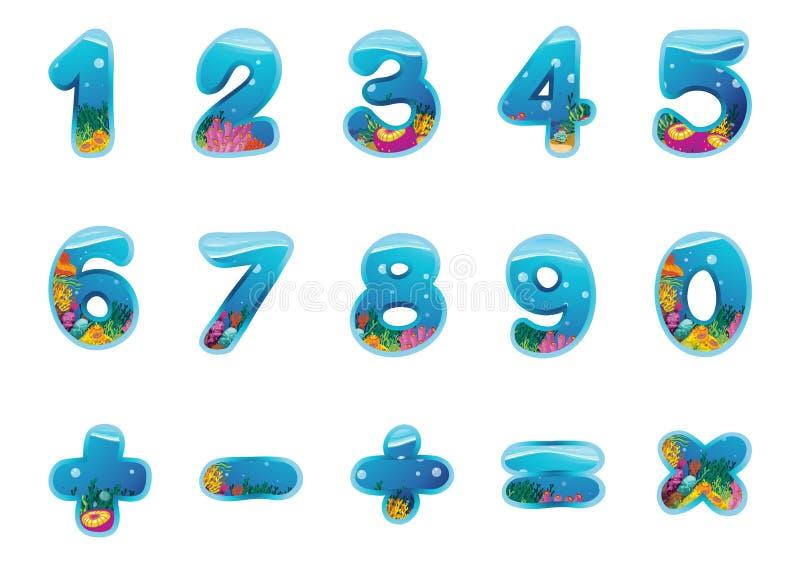Numrerar och undertecknar stock illustrationer