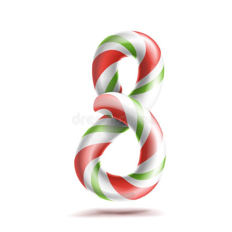 8 numrerar vektor åtta tecken för nummer 3d Diagram 8 i julfärger Göra grön randigt, rött vitt Klassisk Xmas-mintkaramell hårt stock illustrationer