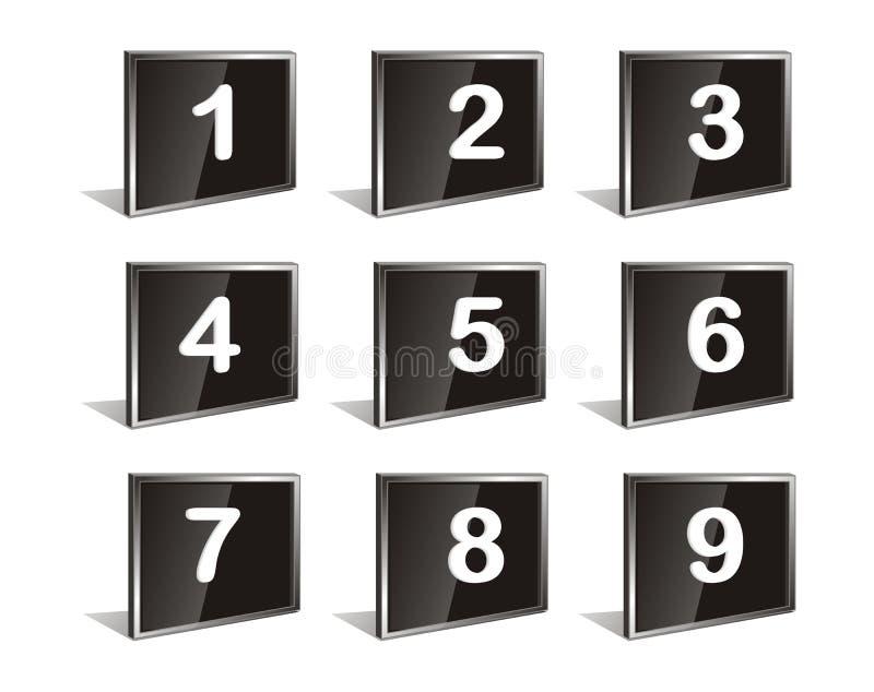 numrerar vektorn stock illustrationer