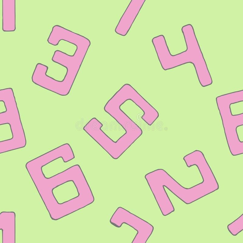Numret av vektorer Sömlöst bakgrundsmodellnummer vektor illustrationer