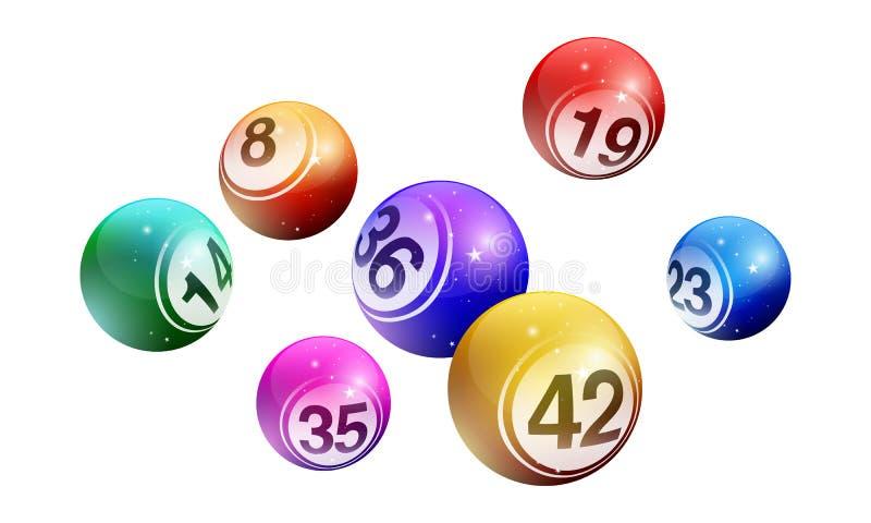 Numret för lotterit för vektorkristallbingoen klumpa ihop sig uppsättningen som isoleras på vit bakgrund vektor illustrationer