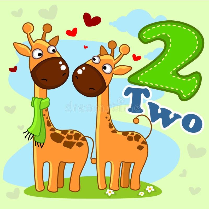 Numret två med en illustration royaltyfri illustrationer