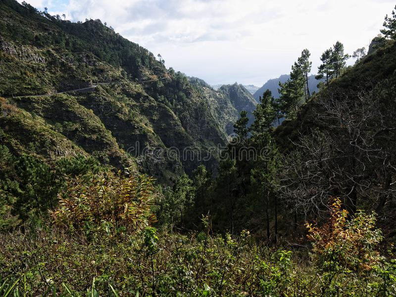 The Nun's Valley in the mountains above Funchal on the island of Madeira in the Atlantic Ocean. Nun`s Valley on the Island of Madeira.It is so called stock photos