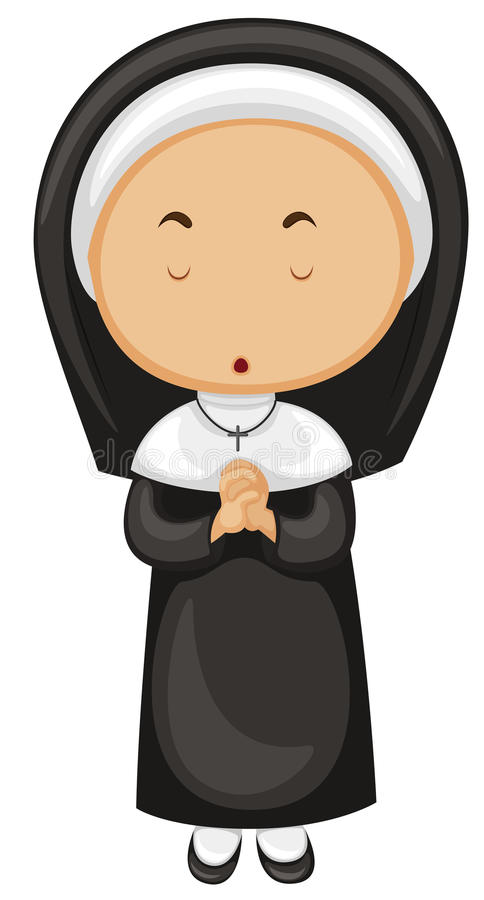 Nun in black outfit. Illustration vector illustration