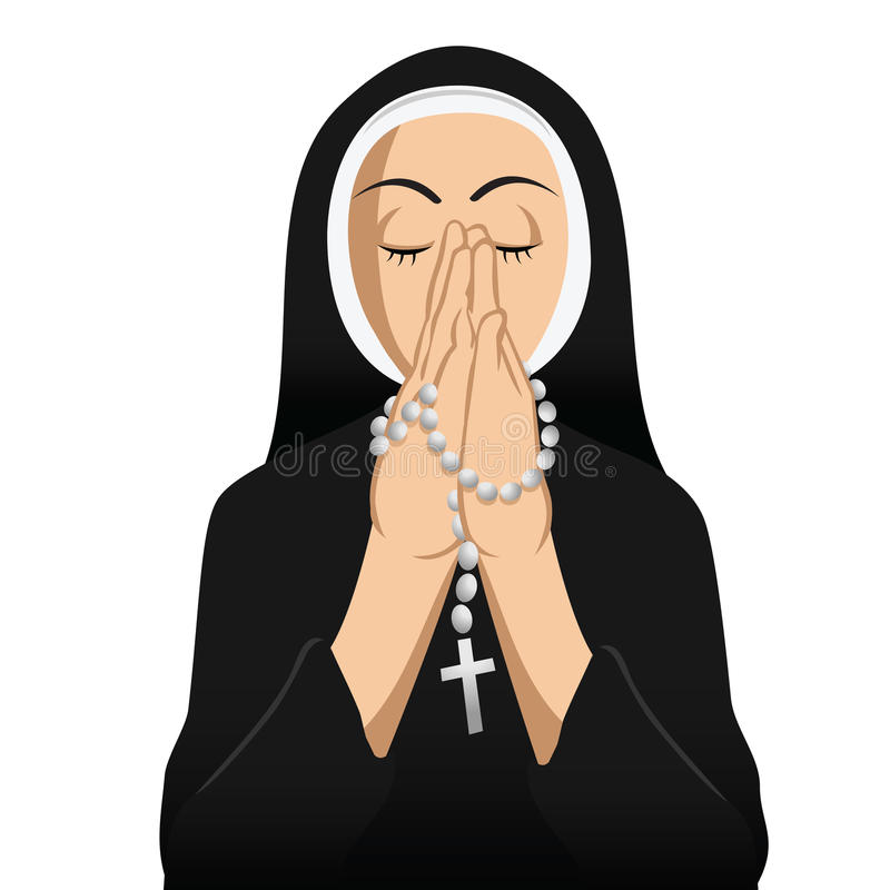 Download Nun Catholic praying stock vector. Image of cross, religion - 27836105