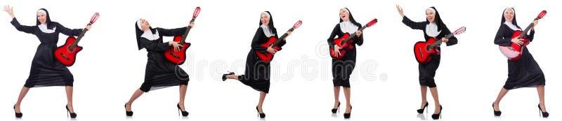 The nun with guitar royalty free stock photos