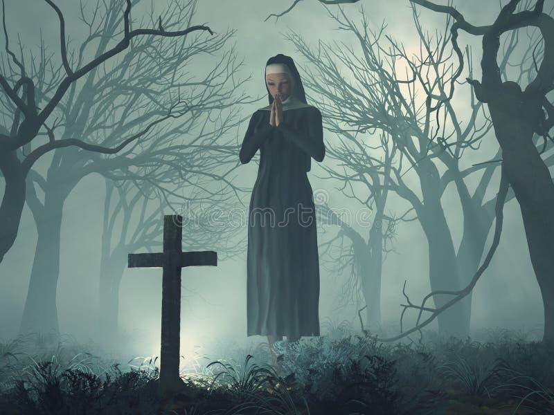 Nun in prayer before cross royalty free illustration