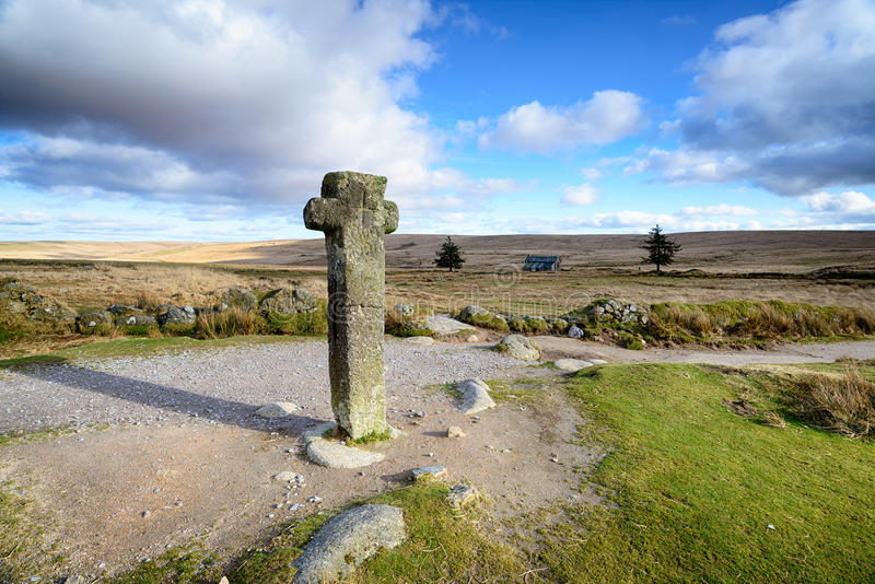 Nun`s Cross on Dartmoor. Nun`s Cross an ancient granite cross near Princetown on Dartmoor National Park in Devon royalty free stock images