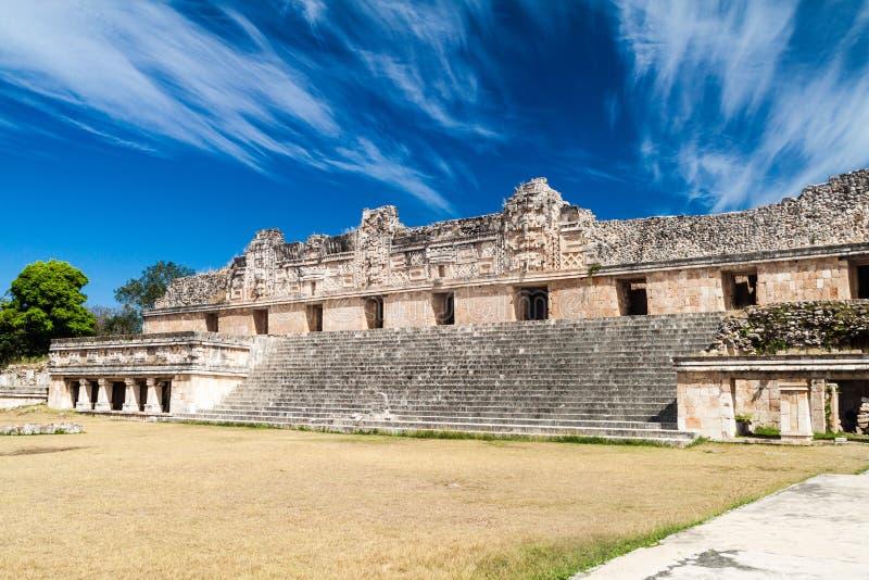 Nun`s Quadrangle Cuadrangulo de las Monjas building complex at the ruins of the ancient Mayan city Uxmal, Mexi. Co royalty free stock images