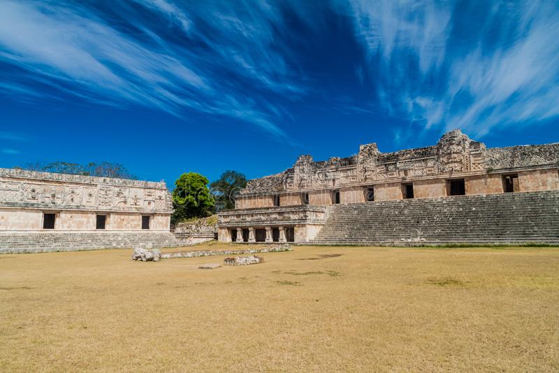 Nun`s Quadrangle Cuadrangulo de las Monjas building complex at the ruins of the ancient Mayan city Uxmal, Mexi. Co stock images