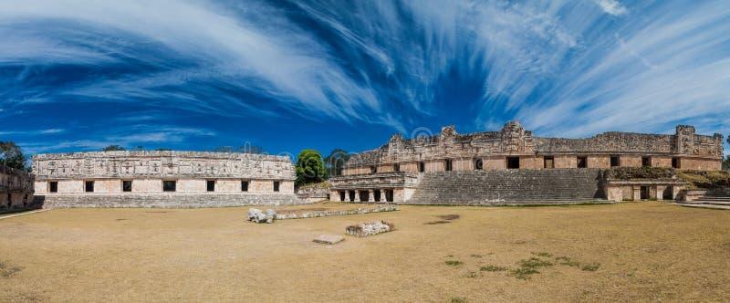 Nun`s Quadrangle Cuadrangulo de las Monjas building complex at the ruins of the ancient Mayan city Uxmal, Mexi. Co royalty free stock image