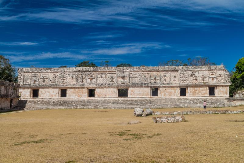 Nun`s Quadrangle Cuadrangulo de las Monjas building complex at the ruins of the ancient Mayan city Uxmal, Mexi. Co stock image