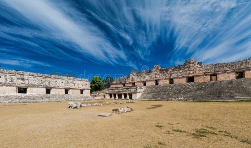 Nun`s Quadrangle Cuadrangulo de las Monjas building complex at the ruins of the ancient Mayan city Uxmal, Mexi. Co stock photography