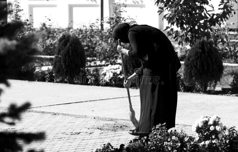 Nun working stock photography