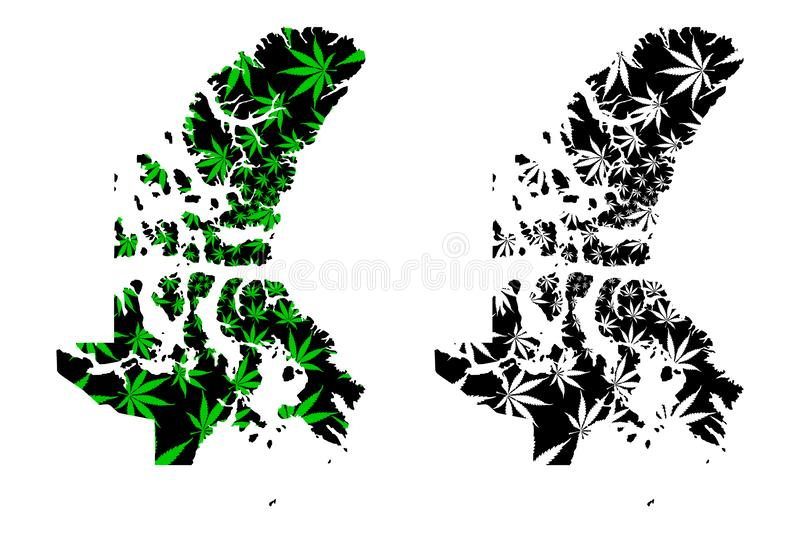 Nunavut provinces and territories of Canada, Canadian Arctic Archipelago map is designed cannabis leaf green and black, Nunavut. Map made of marijuana marihuana vector illustration
