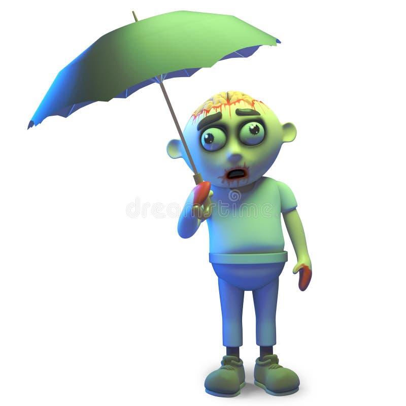 Nunca chove-o derrama no monstro pobre do zombi com guarda-chuva, ilustração 3d ilustração royalty free